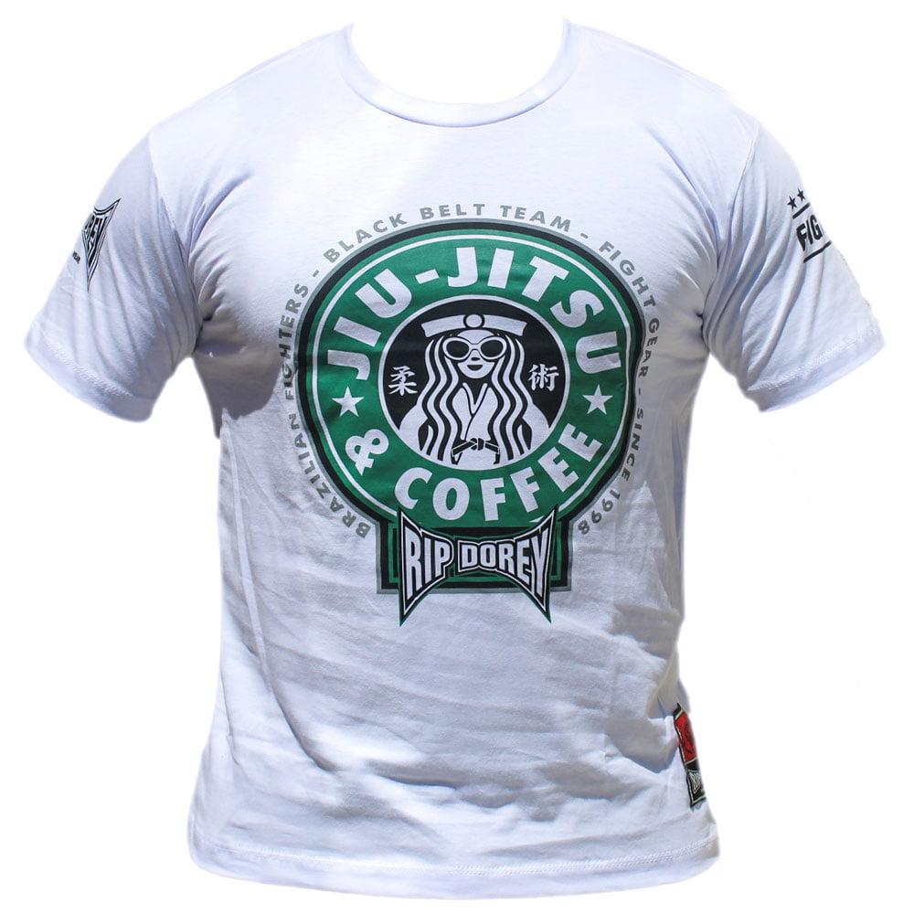 Camiseta Manga Curta Café com Jiu-Jitsu