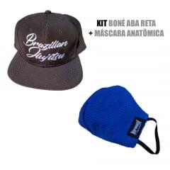 Kit Promocional Boné Aba Reta Preto + Mascara Anatômica